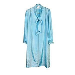 Vtg 80s Pussy Bow Shirt Dress Baby Blue Iridescent